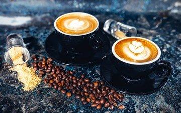 grain, coffee, saucer, cup, sugar, cappuccino