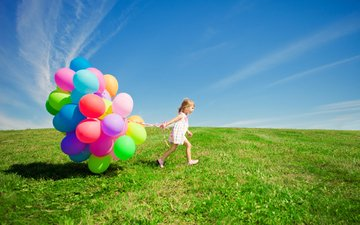 the sky, grass, clouds, mood, field, girl, child, balloons