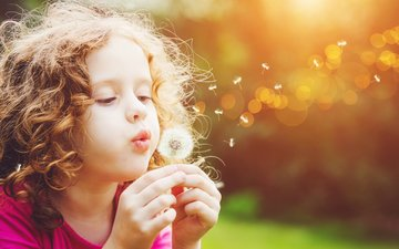 mood, flower, look, girl, hair, face, child, dandelion