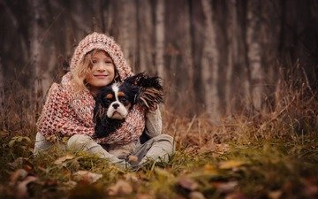 grass, trees, nature, leaves, mood, autumn, dog, girl, friends, hood, scarf, spaniel