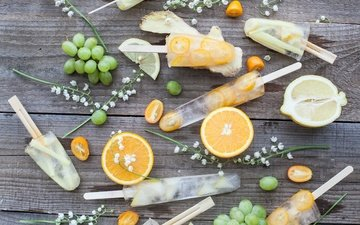 цветы, виноград, мороженое, апельсины, лёд, ландыши, лимон, цитрус, фруктовый лед