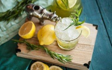 mint, drink, ice, lemon, citrus, lemonade