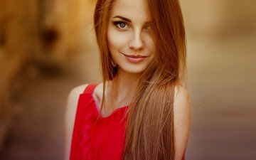 girl, smile, portrait, model, lips, blue eyes, red dress, photoshoot, long hair, anna nevrev