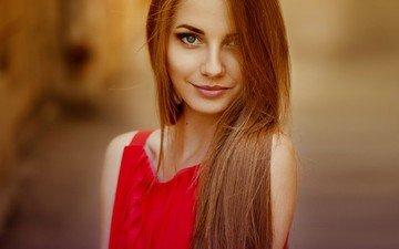 девушка, улыбка, портрет, модель, губы, голубые глаза, красное платье, фотосессия, длинные волосы, анна неврева