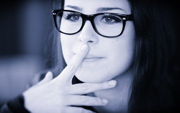 eyes, girl, portrait, brunette, glasses, black and white, model, face, singer, lena meyer-landrut, finger on lips