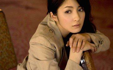 глаза, девушка, портрет, модель, плащ, азиатка, фотосессия