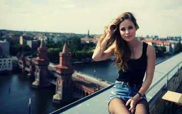 girl, smile, the city, model, singer, photoshoot, sitting, lena meyer-landrut, denim shorts