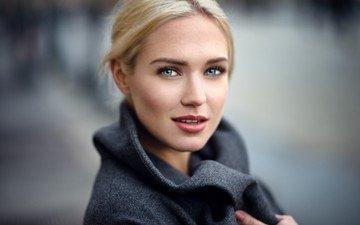 девушка, блондинка, улыбка, модель, лицо, голубые глаза, ева, пальто, lods franck, ева микульски