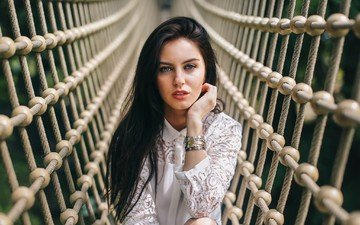 girl, dress, model, mesh, blue eyes, white dress, red lipstick, bracelets, photoshoot, ropes, aurela skandaj, aurela scandal, rope bridge