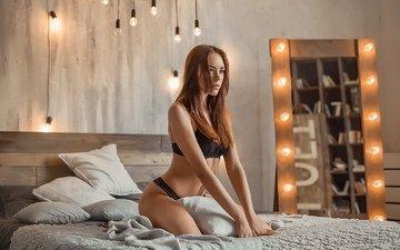 девушка, модель, кровать, фигура, нижнее белье, сидя, георгий дьяков