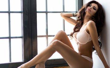 девушка, модель, ножки, окно, фигура, нижнее белье, justyna gradek