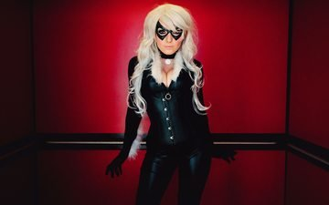girl, mask, blonde, model, costume, figure, cosplay, black cat, jessica nigri