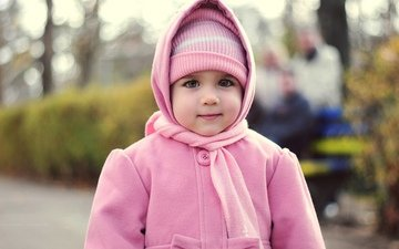 look, children, girl, face, child, hat, coat