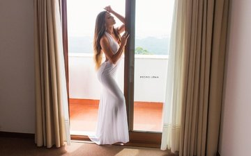 girl, curtains, dress, pose, balcony, makeup, figure, in white, is, brown hair, closed eyes, diana, pedro lema