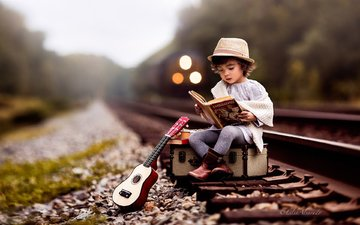 road, rails, guitar, train, child, boy, book, hat, suitcase, lilia alvarado