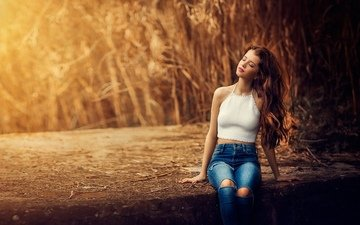 nature, girl, pose, model, jeans, long hair, closed eyes