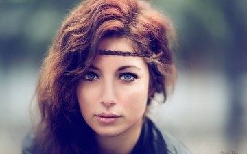 девушка, портрет, взгляд, волосы, губы, лицо, дэвид mas