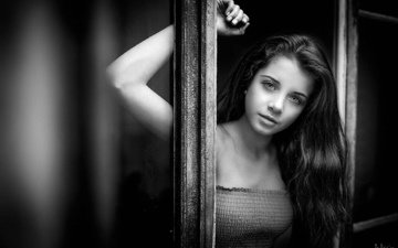 девушка, взгляд, чёрно-белое, модель, лицо, длинные волосы, ариадна, дэвид mas