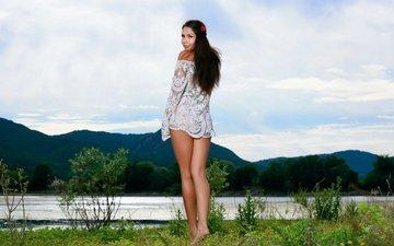 горы, природа, девушка, пейзаж, брюнетка, взгляд, модель, волосы, лицо, romana, rika s