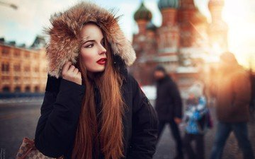 girl, moscow, red, model, profile, russia, hair, fur, red lipstick, long hair, ivan gorokhov