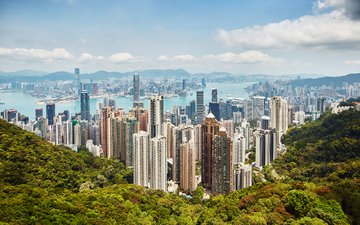 the sky, clouds, the city, megapolis, hong kong