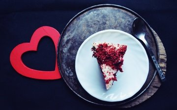heart, black background, sweet, dessert, cake