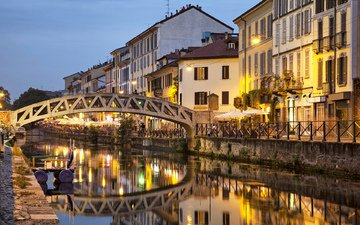 water, the evening, reflection, bridge, channel, home, italy, milan