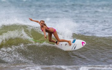 girl, sea, board, wave, sport, surfing, surfboard