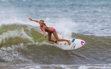 девушка, море, доска, волна, спорт, серфинг, доска для серфинга