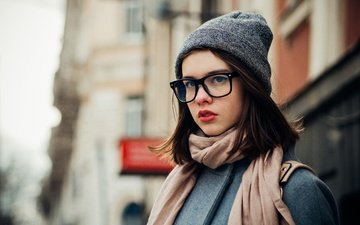 girl, mood, portrait, the city, look, glasses, street, model, hat, coat