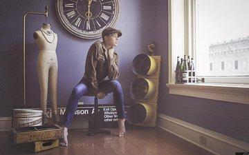 girl, interior, watch, model, jeans, window, cap, barefoot