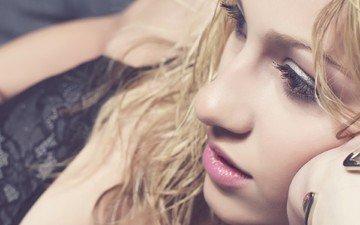 girl, blonde, portrait, model, face, makeup, closeup