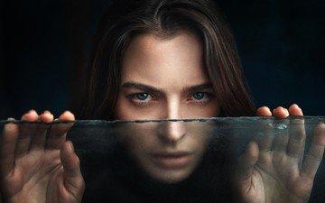 girl, portrait, look, model, hair, black background, face, glass, natasha, georgy chernyadyev