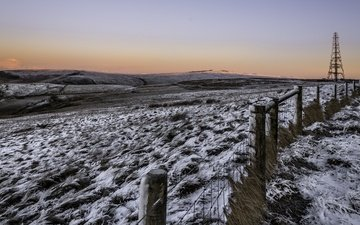 snow, winter, landscape, morning, field, the fence, cold