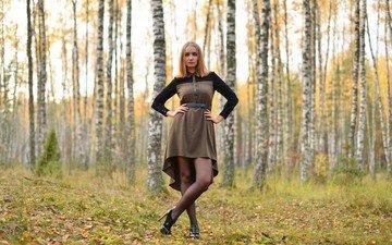 деревья, природа, девушка, платье, взгляд, осень, волосы, лицо