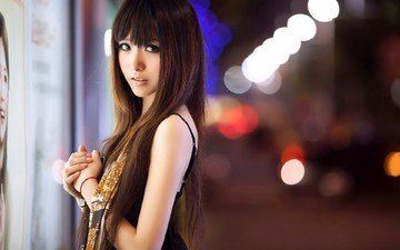 lights, girl, the city, look, model, face, asian, long hair