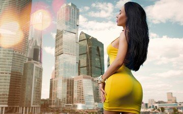 girl, pose, the city, skyscrapers, home, model, figure, ass, closed eyes, yellow dress, roman polyanchev