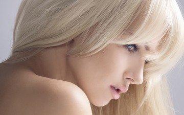 girl, blonde, portrait, model, profile, face, blue eyes, long hair, bare shoulders