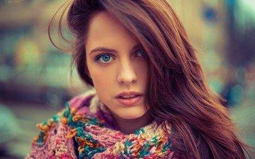 девушка, портрет, взгляд, волосы, губы, лицо, голубоглазая