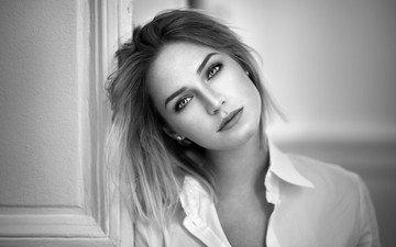 девушка, портрет, чёрно-белое, модель, лицо, ева, длинные волосы, lods franck