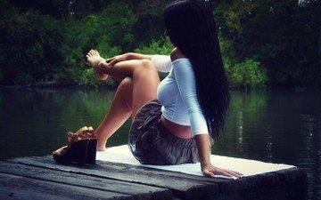 озеро, девушка, брюнетка, модель, сидит, ножки, пристань