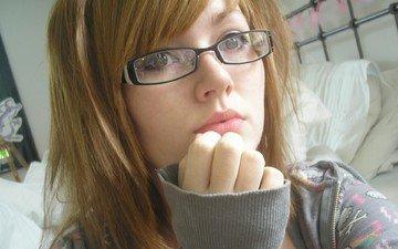девушка, взгляд, очки, волосы, губы, лицо