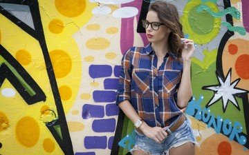 girl, glasses, wall, watch, graffiti, shirt, denim shorts