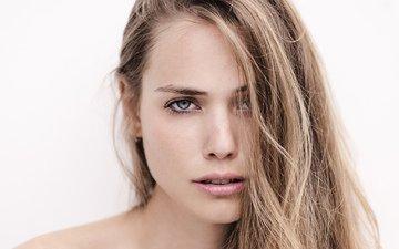 девушка, портрет, взгляд, модель, губы, лицо, белый фон, длинные волосы
