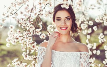 flowering, girl, smile, look, garden, spring, hair, face, makeup, bare shoulders
