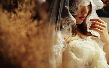 style, girl, asian, the bride, veil, bokeh