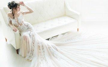 стиль, девушка, поза, брюнетка, модель, диван, азиатка, невеста, свадебное платье