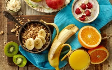 raspberry, fruit, apples, oranges, kiwi, breakfast, banana, orange juice, muesli, juice, yogurt