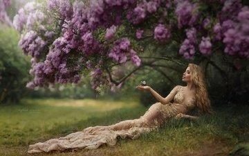 цветение, рука, девушка, платье, блондинка, бабочка, модель, профиль, сирень, iryna dzhul