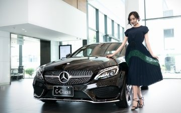 girl, dress, smile, look, hair, face, asian, mercedes, mercedes-benz